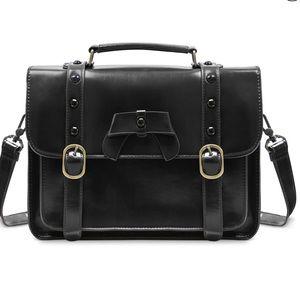 Black Bow Messenger Briefcase Work School Bag
